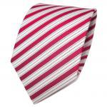 TigerTie Designer Seidenkrawatte rot signalrot weiß gestreift - Krawatte Seide