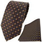 TigerTie Krawatte + Einstecktuch in braun dunkelbraun blau silber gemustert