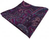 Einstecktuch lila türkis beige Paisley gemustert - Einstecktuch 100% reine Wolle