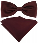 TigerTie Satin Fliege + TigerTie Einstecktuch in weinrot Uni Einfarbig + Box