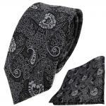 schmale TigerTie Krawatte + Einstecktuch anthrazit schwarz grau silber Paisley