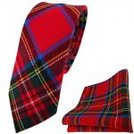 schmale Krawatte + Einstecktuch rot grün gelb blau silber kariert - 100% Wolle