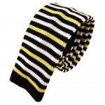 Schmale Kinderstrickkrawatte in schwarz gelb weiss gestreift- Größe 125 x 5 cm