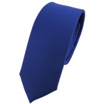 schmale TigerTie Designer Krawatte Satin blau uni - Schlips Tie Binder