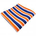 schönes Einstecktuch in orange blau schwarz weiß gestreift - Tuch 100% Polyester