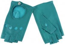 Damen Handschuhe fingerlos - hochwertiges weiches Schafsleder mintgrün - Gr. 7, 5