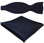 TigerTie Satin Selbstbinder Fliege + Einstecktuch marine dunkelblau Einfarbig