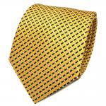 TigerTie Designer Seidenkrawatte gelb silber schwarz gestreift - Krawatte Seide