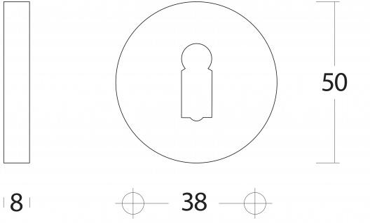 Intersteel Rosette mit Schlüsselloch rund Chrom matt - Vorschau 2