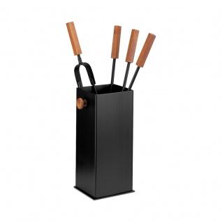 Bucket Kamingarnitur in Schwarz beschichtet, Griffe und Zierteil Buche nussbaumfarben, vierteilig