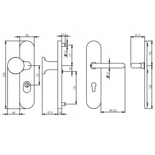 Intersteel Sicherheitsbeschlag SKG3 mit Profilzylinder-Lochung 72 mm Messing Titan PVD Vordertürbeschlag mit Kernziehschutz - Vorschau 2