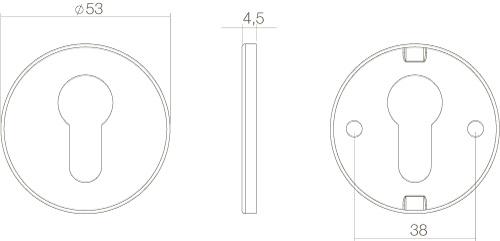 Intersteel PZ-Schutzrosette rund flach verdeckt Edelstahl gebürstet - Vorschau 2