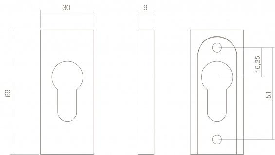 Intersteel Sicherheits-Schubrosette rechteckig 10 mm Edelstahl poliert - Vorschau 2