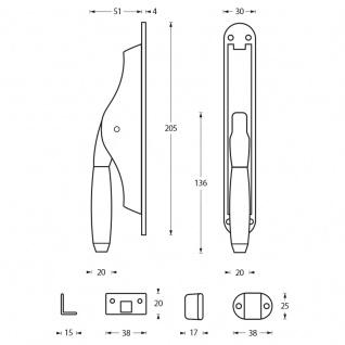 Intersteel Tür-Stangenschloss Ton 400 Nickel/Ebenholz - Vorschau 2