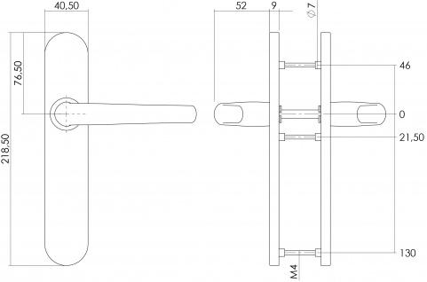 Intersteel Türklinke Säbel auf blindem Schild Edelstahl gebürstet - Vorschau 2