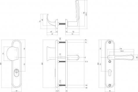 Intersteel Sicherheitsbeschlag SKG3 mit Profilzylinder-Lochung 72 mm und Kernziehschutz Vordertürbeschlag Special Fusion links Edelstahl gebürstet - Vorschau 2