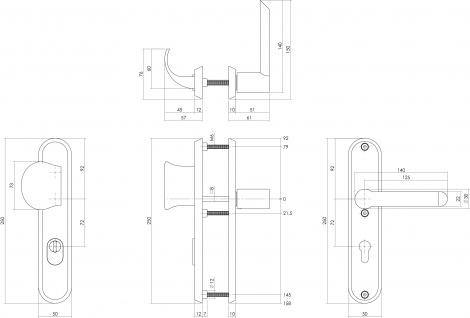Intersteel Sicherheitsbeschlag SKG3 mit Profilzylinder-Lochung 72 mm Vordertürbeschlag Sliced no. 2 rechts Edelstahl gebürstet mit Kernziehschutz - Vorschau 2