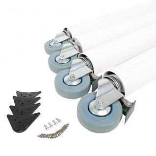 4er Set Tischbeine 710mm ø 60mm auf Rollen mit Bremsen Weiß