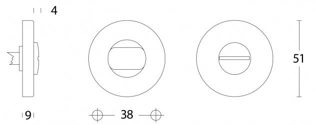 Intersteel Rosette mit Toiletten-/Badezimmerverriegelung Aluminium - Vorschau 2