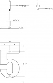 Intersteel Hausnummer 5 Messing Titan PVD - Vorschau 2