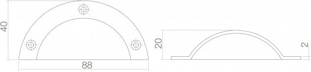 Intersteel Griffmuschel 88 mm Messing unlackiert - Vorschau 2