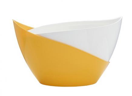 Blumenkübel Selbstbewässerungstopf Modell Doppio Gelb/ Weiß Höhe 13, 5 cm