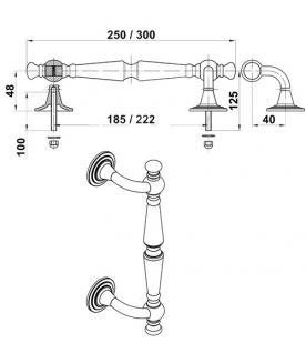 Stoßgriff Türgriff Haustürbeschlag aus Messing - Edelstahl Optik Länge 250 mm - Vorschau 2