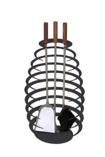 Kaminbesteck Kamingarnitur Kaminzubehör aus Edelstahl - Griffe Nussholz - schwarz beschichtet - 3-teilig