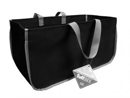 Kaminholztragetasche aus Polyester - schwarz mit silberfarbenen Henkeln