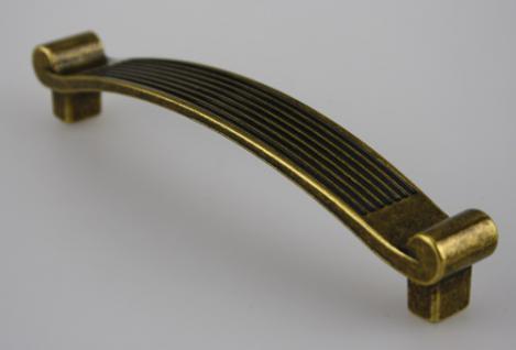 Möbelgriff Schubladengriff Schrankgriff aus Metall - Antik Messing - Lochabstand 128 mm