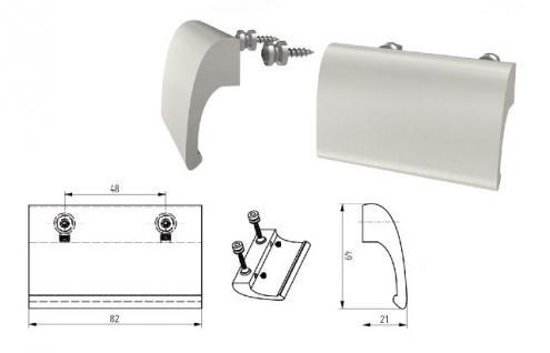 Balkongriff Ziehgriff Terrassentürgriff Deluxe verschiedene Farben - Silber - Vorschau 2