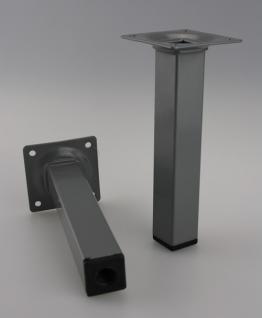 Möbelfuss Tischbein Sofafuss Silber Eckig 25x25mm Höhe 300mm
