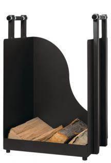 Holzkorb Holzkiste Kaminzubehör aus Metall - schwarz beschichtet