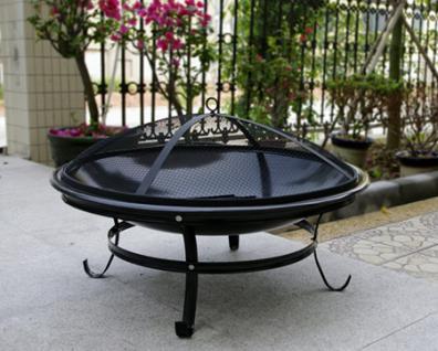 Feuerschale Feuerstelle Feuerkorb Terrassenofen aus Stahl - schwarz beschichtet - Durchmesser 75 cm