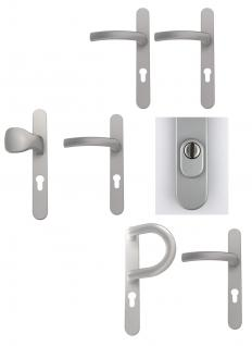 Schmalrahmengarnitur Wechselgarnitur Kernziehschutz - Silber - diverse Varianten