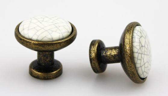 Möbelknopf Knopf Schrankknopf Möbelknauf aus Metall mit Porzellan ø 31mm