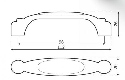 Möbelgriff Schubladengriff aus Metall mit Porzellan Lochabstand 96mm Blume - Vorschau 3