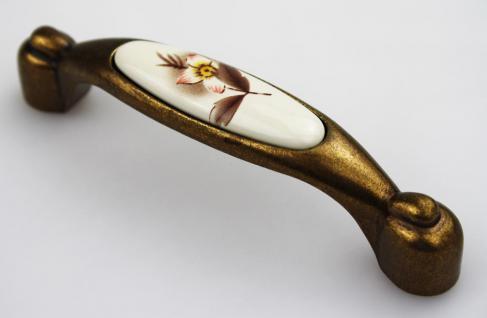 Möbelgriff Schubladengriff aus Metall mit Porzellan Lochabstand 96mm Blume