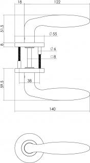 Intersteel Türklinke Jupiter auf Stahlrosette mit Schlüsselloch gebürsteter Edelstahl - Vorschau 2
