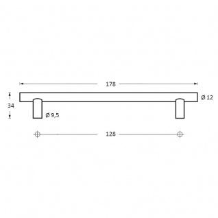Intersteel Möbelgriff Ø 12 mm, Länge 178 mm Edelstahl gebürstet - Vorschau 2