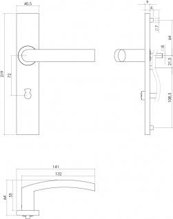 Intersteel Türklinke Block auf rechteckigem Schild mit Toiletten-/Badezimmerverriegelung 72 mm Edelstahl gebürstet - Vorschau 2