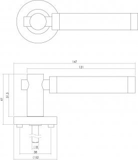 Intersteel Türklinke Birgit auf runder Rosette mit Schlüsselloch Chrom/Nickel matt - Vorschau 2