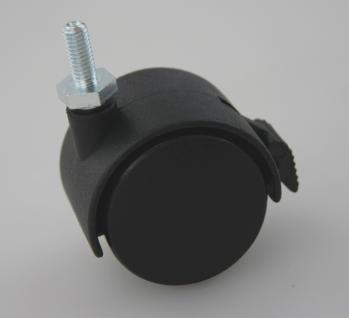 MS Beschläge® Möbelrolle Hartbodenrolle aus Kunststoff mit Bremse und Gewinde - Vorschau 3