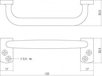 Intersteel Möbelgriff Model Haag 120 mm Messing unlackiert - Vorschau 2