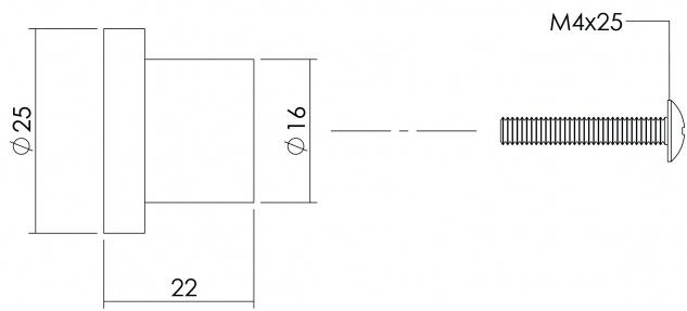 Intersteel Möbelknauf ø 25 mm flach Edelstahl gebürstet - Vorschau 2