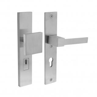 Intersteel Sicherheitsbeschlag SKG3 mit Profilzylinder-Lochung 72 mm und Kernziehschutz Vordertürbeschlag Sliced no. 5 rechts Edelstahl gebürstet - Vorschau 1