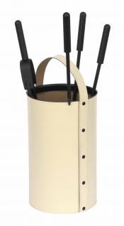 Kaminbesteck Kaminzubehör Ofenset aus regeneriertem Leder in Beige Höhe 60cm