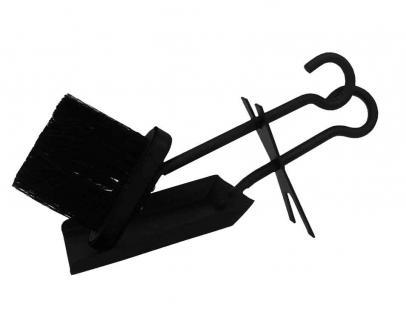 Schaufel & Besen Kaminzubehör Schwarz aus Metall verschiedene Designs