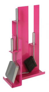 Kaminbesteck Modell 910 - pink beschichtet mit Besteck & Griffen aus Edelstahl