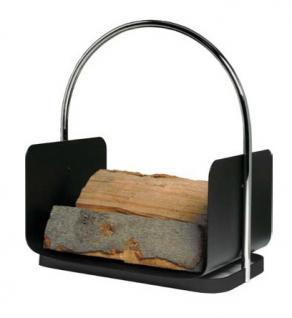Holzkorb Kamingarnitur Kaminzubehör - schwarz beschichtet mit Chrombügel